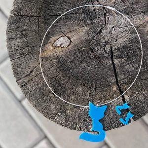 Modrá liščí souprava s malými náušnicemi