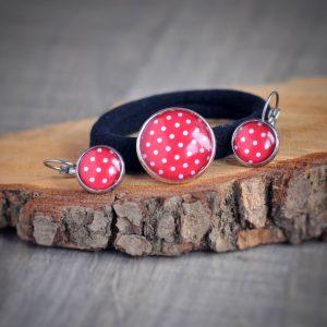 Náušnice a vlasová gumička - červený puntík